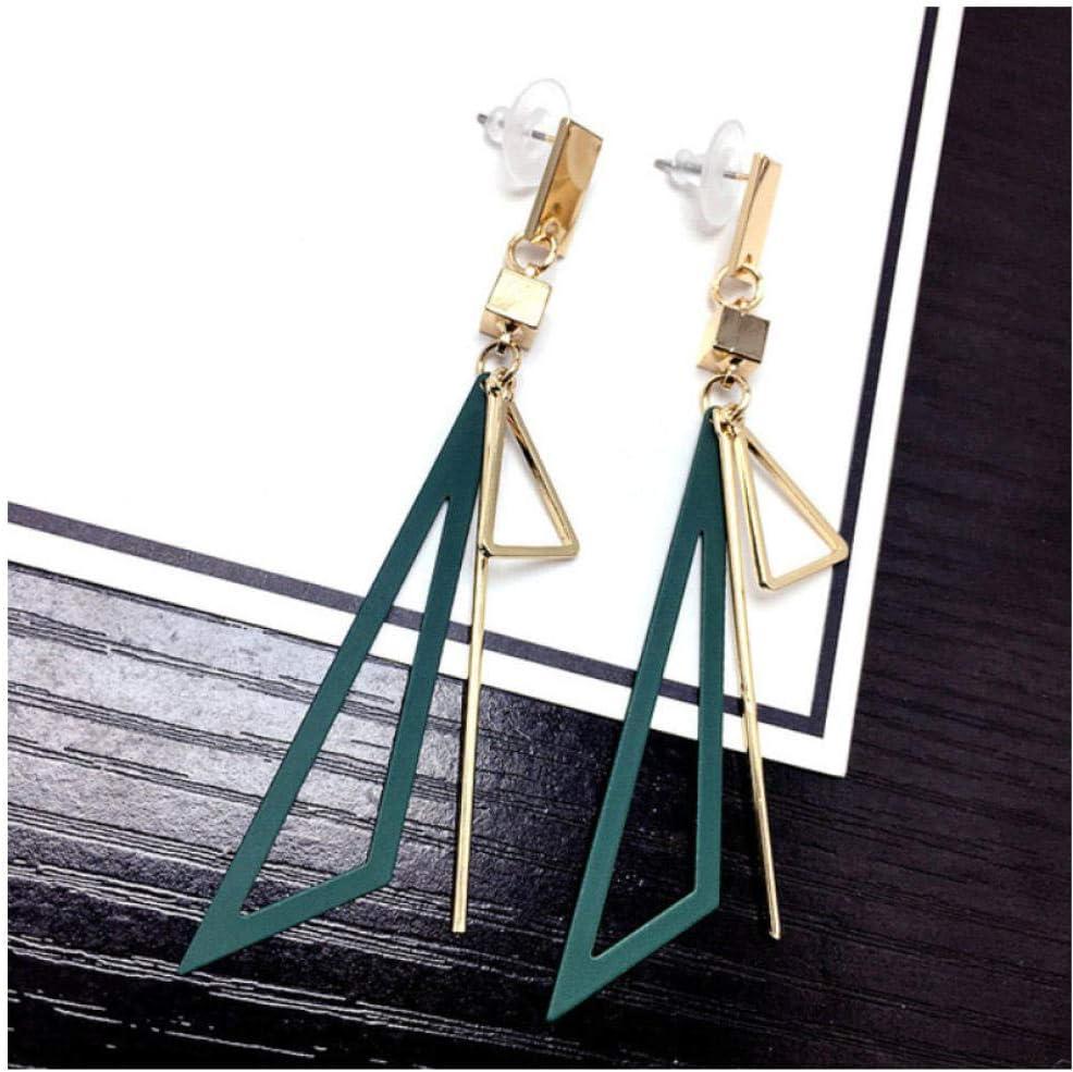 NOBRAND Triángulo Largo 8.5cm Pendientes de Borla Pendientes geométricos Cuadrados para Mujer joyería Verde