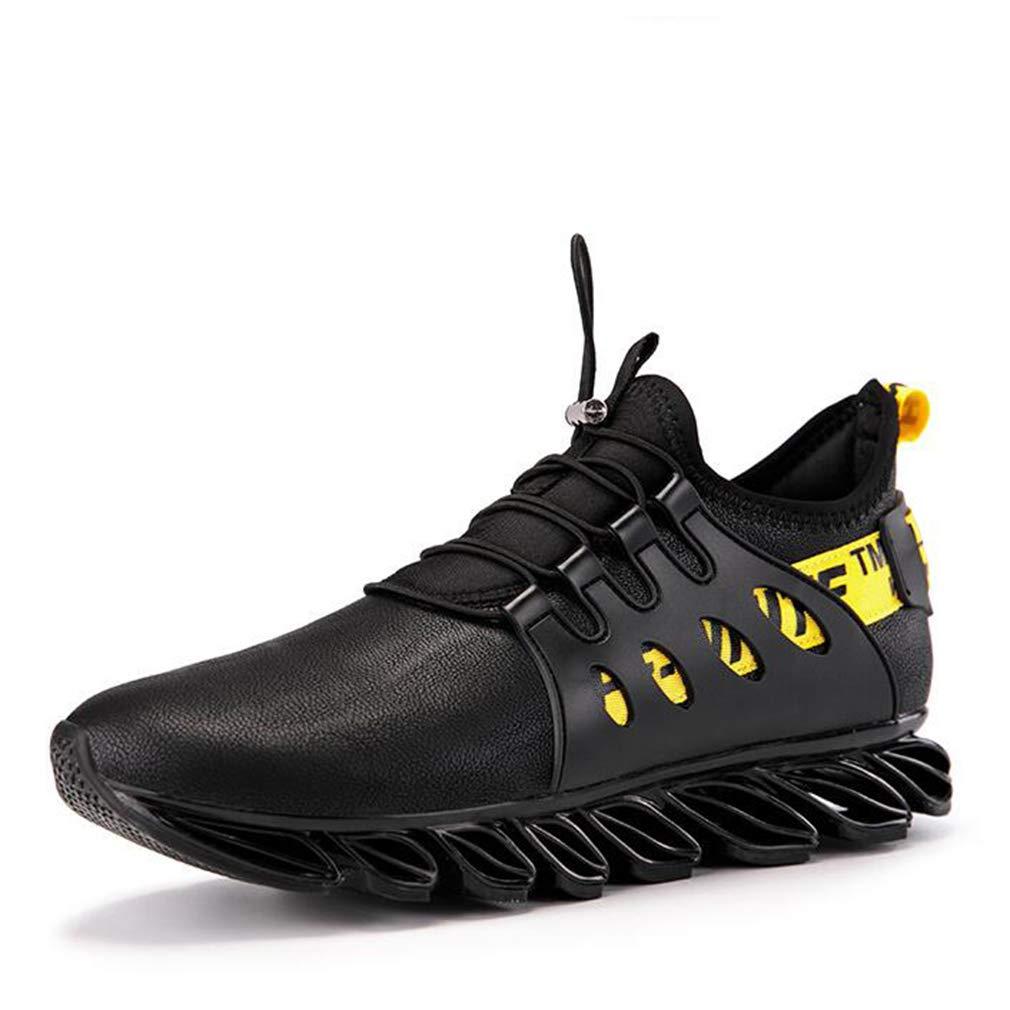 Hy Herren Freizeitschuhe ,Frühjahr Herbst Outdoor Klettern Turnschuhe ,Student Slip-Ons Laufschuhe Trainingsschuhe Reise Schuhe (Farbe   schwarz Gelb, Größe   44)