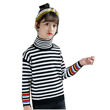 b46481937 Amazon.com  MV Girls High Collar Pullover Knit Sweater Bottoming Korean  Striped Thread Cuffs  Clothing