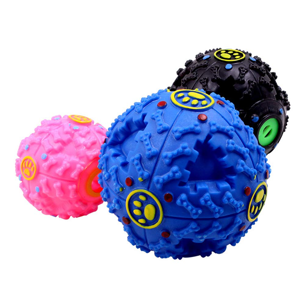 L 3PACK IQ Treat Ball Fun Dog Squeaker Toy Pet Interactive Food Dispensing Toys Non-Toxic Natural Rubber Increases Pet IQ and Increase Play Fun,L