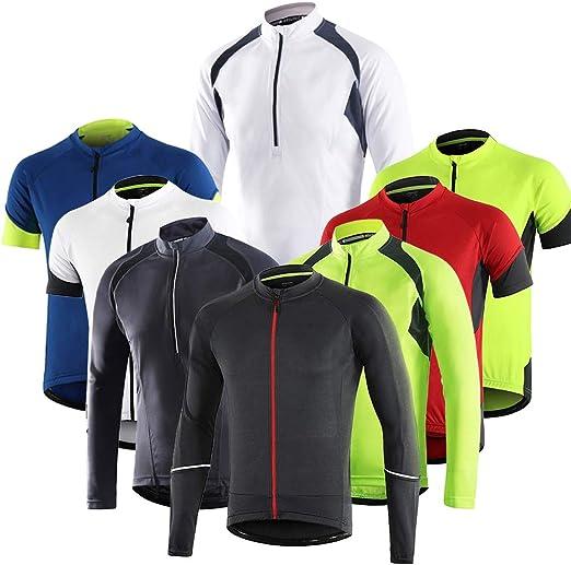 Dooy Mens Cycling Bike Jersey,Long Sleeve MTB Shirts with 3 Rear Pockets-Breathable,Smooth Zipper Biking Shirt