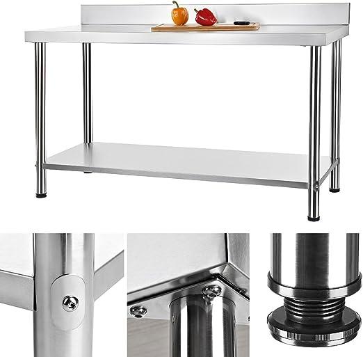 150 x 60 cm Mesa de trabajo Gastro mesa de acero inoxidable cocina ...