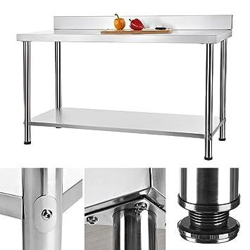 150x60CM Arbeitstisch Gastro Tisch aus Edelstahl Küchentisch ...