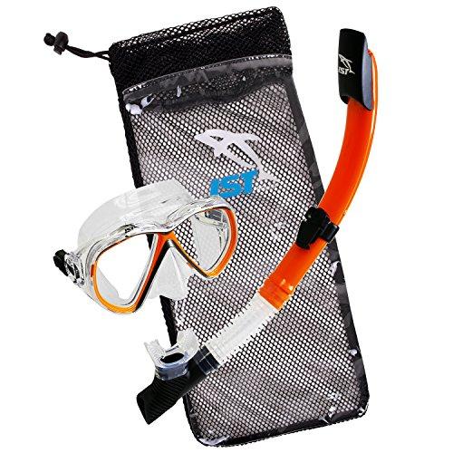 IST Snorkeling Combo Set: Mask, Semi-Dry Snorkel, Mesh Travel Bag (Orange, Adult Standard)