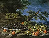 tabletops gallery umbria - 'Melendez Luis Egidio Bodegon Con Plato De Moras Acerolas Y Avellanas En Un Paisaje 18 Century ' Oil Painting, 30 X 39 Inch / 76 X 100 Cm ,printed On Polyster Canvas ,this Cheap But High Quality Art Decorative Art Decorative Canvas Prints Is Perfectly Suitalbe For Bathroom Gallery Art And Home Artwork And Gifts
