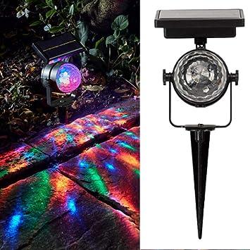 FZYUAN Proyector De Luz LED Lámpara De Energía Solar Giratoria De Colores Luz De Luz Solar LED Lámpara De Césped De Jardín Al Aire Libre Patio Casero Decoración De Navidad: Amazon.es: Deportes