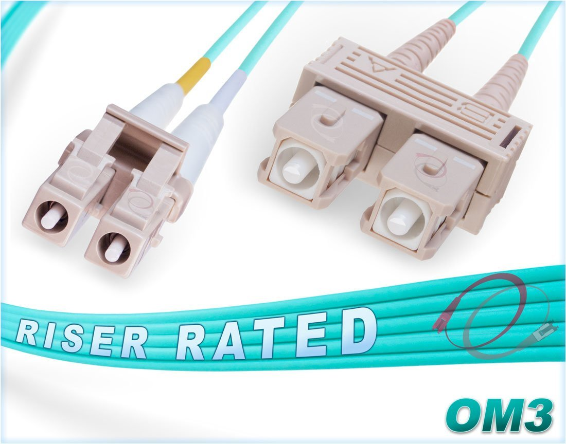 FiberCablesDirect - 2M OM3 LC SC Fiber Patch Cable | 10Gb Duplex 50/125 LC to SC Multimode Jumper 2 Meter (6.56ft) | Length Options: 0.5M-300M | 10g lc-sc mmf 10gbase sfp+ dplx aqua zipcord lommf ofnr by FiberCablesDirect