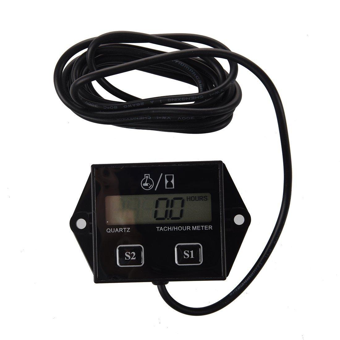 SODIAL(R) Spark Plugs Engine Digital Tach Hour Meter Tachometer Gauge Motorcycle ATV 012492