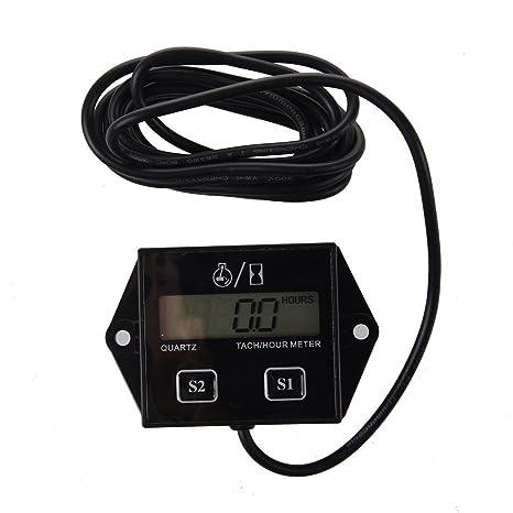 promo code eba23 f8296 SODIAL(R) Bougies Moteur Tachymetre numerique Compteur horaire tachymetre  Jauge de moto ATV