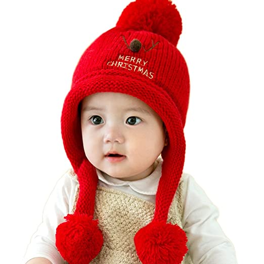 9e231853cc Baby s Christmas Hat with Merry Christmas Design Knitted Hat Festive  Christmas for Baby Boy Girl