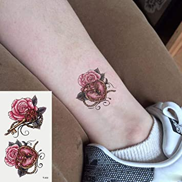 Oottati 2 Hojas Pequeño Lindo Tatuaje Temporal Tattoo Rosa: Amazon ...