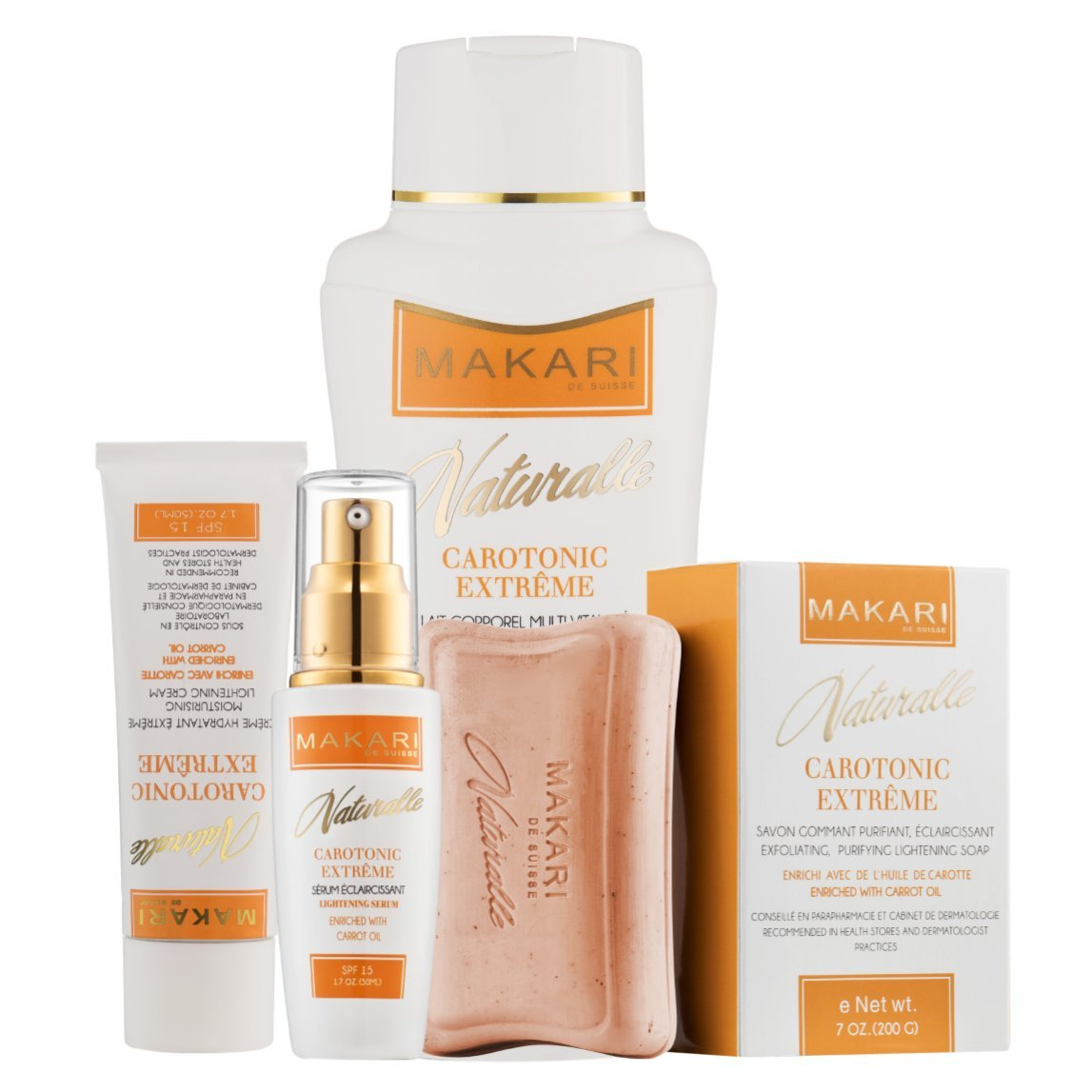 Makari Naturalle Carotonic Extreme Lightening, Toning & Moisturizing Gift Set - Includes Body Milk, Cream, Serum, Gel & Exfoliating Soap by MAKARI