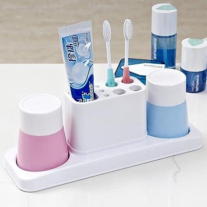 KHSKX Parejas creativas dientes taza, pasta de dientes, dientes taza plástico cepillo de dientes