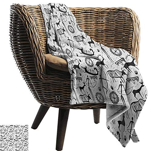 BelleAckerman Luxury Flannel Fleece Blanket,Tribal,African Culture Pattern with Traditional Mask Animal and Arrows Folk Design,Black and White,All Season Light Weight Living Room/Bedroom 50
