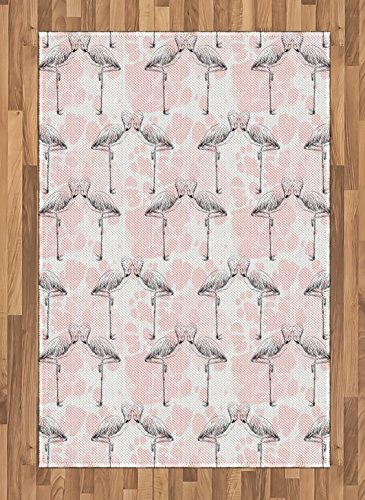 Ambesonne Romantic Area Rug, Flamingos Shaping Hearts with Heads Love Animal Valentines Artsy Illustration, Flat Woven Accent Rug for Living Room Bedroom Dining Room, 4 X 5.7 FT, Pale Pink Grey Review