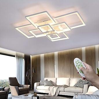 Moderne Wohnzimmer Deckenleuchten, LED Dimmbar Rechteckig Deckenlampe Weiß  9W, mit Fernbedienung 9-flammig Kreative Metall Decken Licht, Für