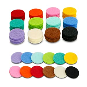 Maromalife 48 PCS Refill Pads 0.87 Inch Felt Pads Highly Absorbent Replacement Pads for Diffuser Necklace Diffuser Bracelet Car Diffuser Vent Clip