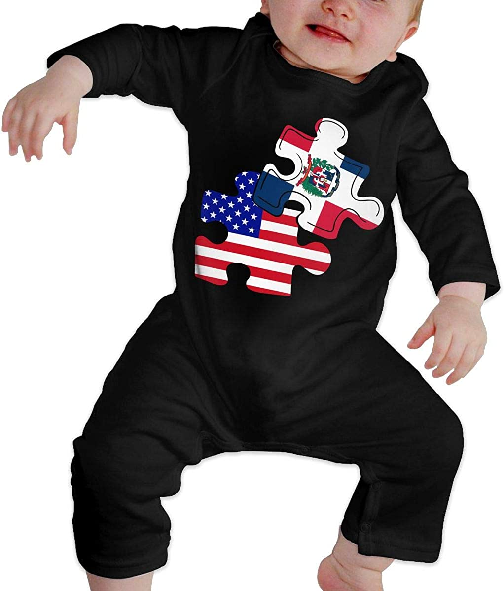 UGFGF-S3 Labor Day American Flag Baby Boy Girl Long Sleeve Bodysuit Baby Clothes