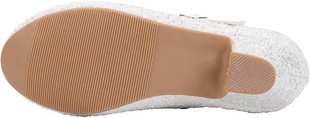 EIGHT KM EKM7015 Ragazze Mary Jane Tacco Basso Glitter Abito Formale D/écollet/é Scarpe Bianco Taglia 32