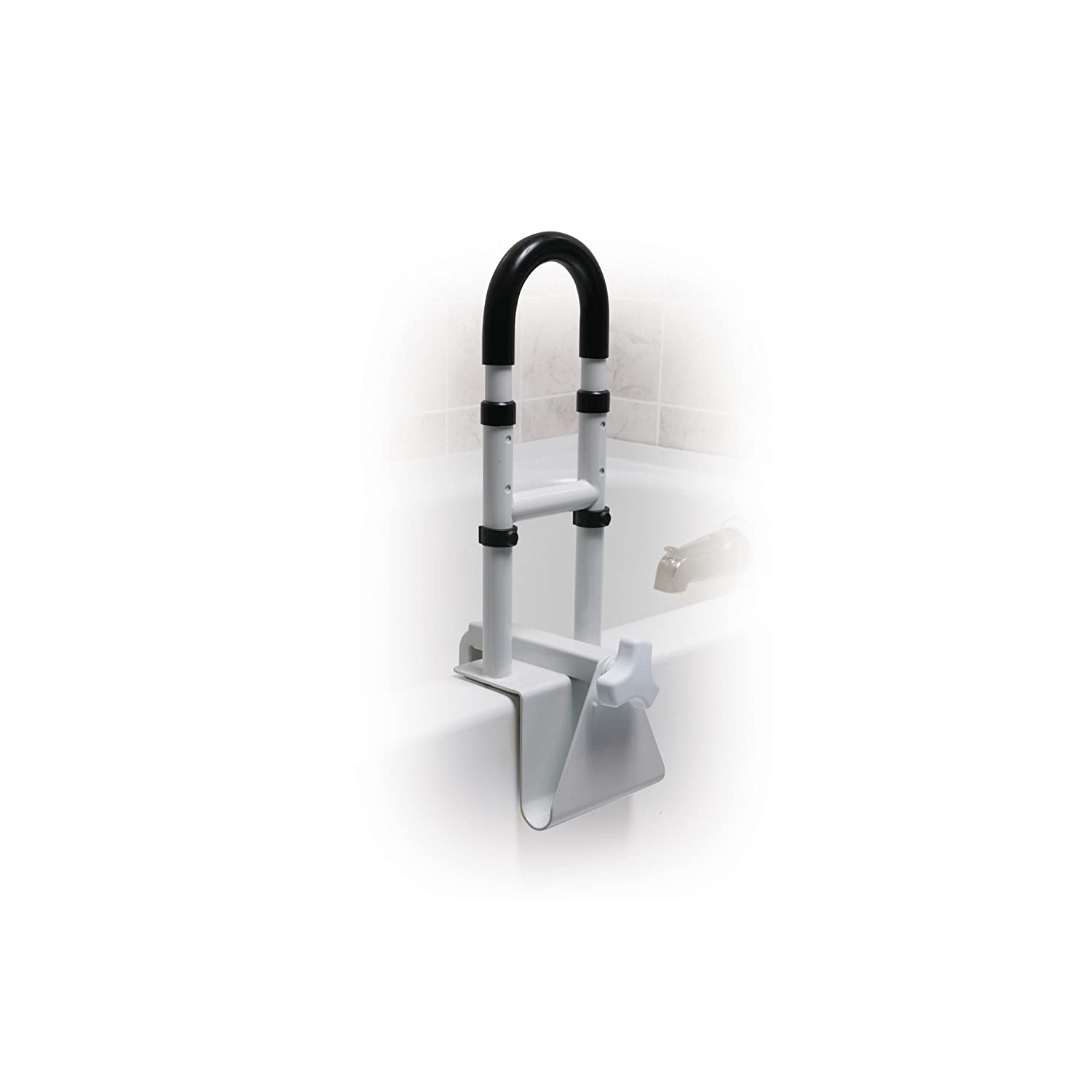handicap bathtub rail height. amazon.com: drive medical steel clamp on tub rail, white, 14\ handicap bathtub rail height