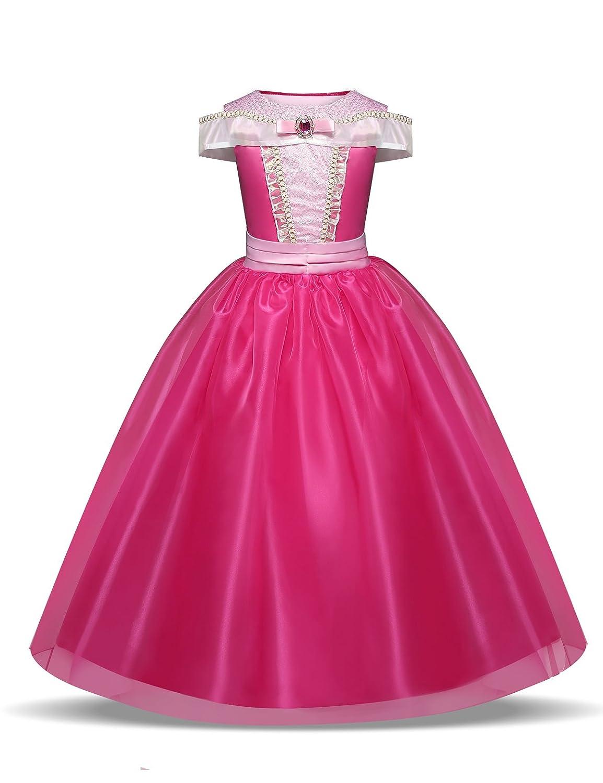 Pretty Princess Ragazze Vestito Abito Aurora costume da principessa per bambina occasione carnevale compleanno festa halloween 9-10 Anni