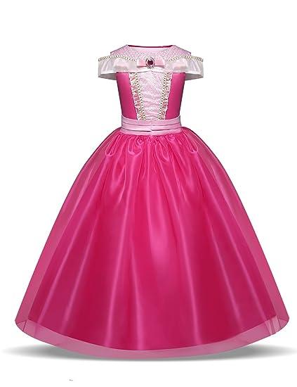 Disfraz de Princesa Aurora Vestido, Traje de Bella Durmiente para Niña (3-10 Años, Rosado)