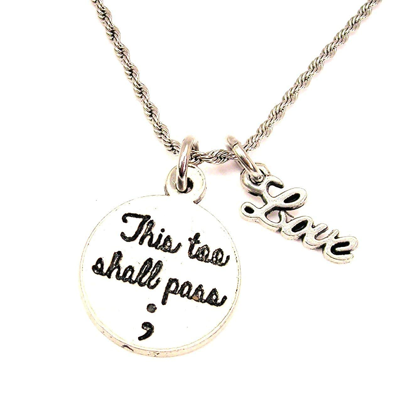 ChubbyChicoCharms This Too Shall Pass ; Stainless Steel Rope Chain Necklace with White Crystal Accent