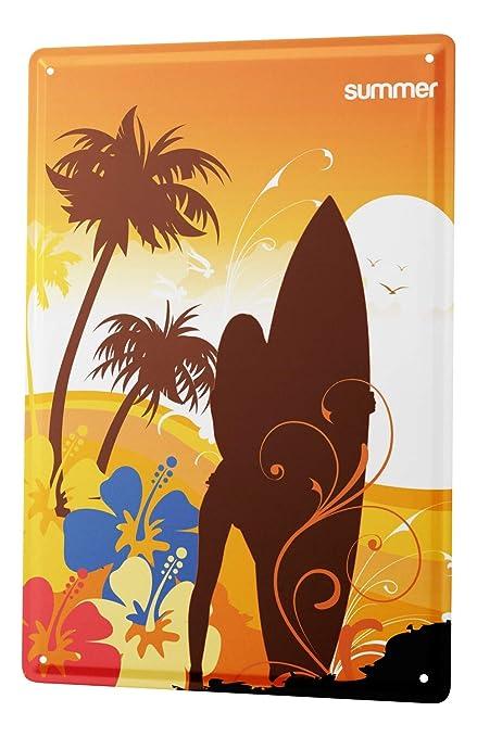 Leotie GmbH Cartel Letrero de Chapa XXL Retro Deco Tabla de Surf Silueta Verano