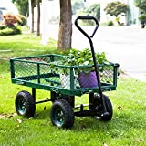Peach Tree Garden Cart Utility Yard Wagon with Removable Sides with a Capacity of 650 lb, Green