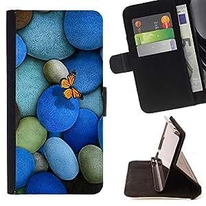 BullDog Case - FOR/Samsung Galaxy Note 4 IV / - / Pebbles Stones & Butterfly /- Monedero de cuero de la PU Llevar cubierta de la caja con el ID Credit Card Slots Flip funda de cuer