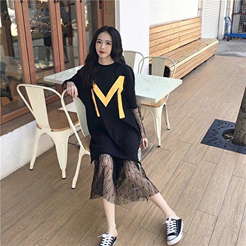 MiGMV Robe Robe Shirt Courtes Deux Female black Jupe T Courte Lache Dentelle pices Moyenne Manches Longueur Student r1qxrw
