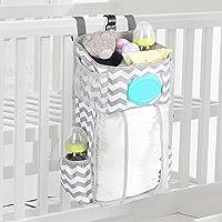 Hanging Diaper Caddy,Diaper Organizer For Crib,Cot Bed Hanging Storage Bag,Muitifuctional Organization Storage Bag…