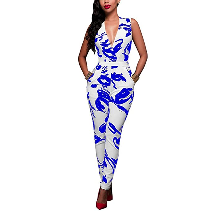 96c3a8e2160 Amazon.com  Engood Women`s Deep V-Neck Cut Out One Piece Casual Long Pants Jumpsuits  Rompers  Clothing