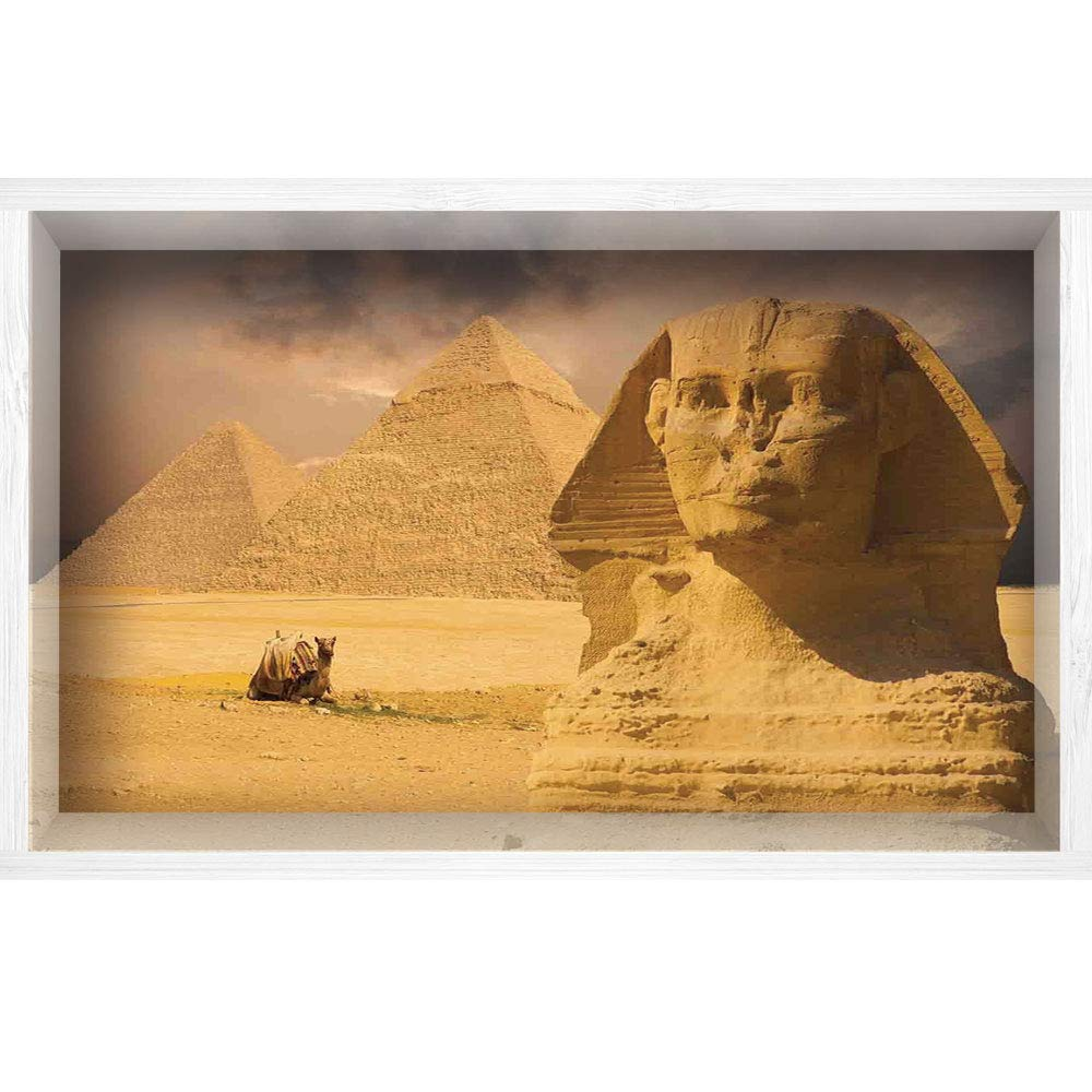3D Depth Illusion White Wood Frame Style Home Decor Art, Vinyl Wall/Floor Decal Sticker,Face with Other Pyramids in Egypt Old Historical,35.4'' x23.6