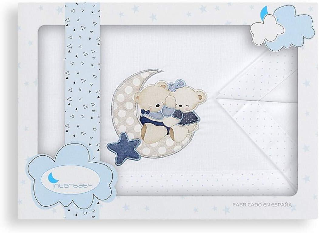 minicuna Oso luna Azul, Minicuna 50x80cms Juego s/ábanas 3 piezas bordadas 100/% algod/ón cuna y maxicuna.