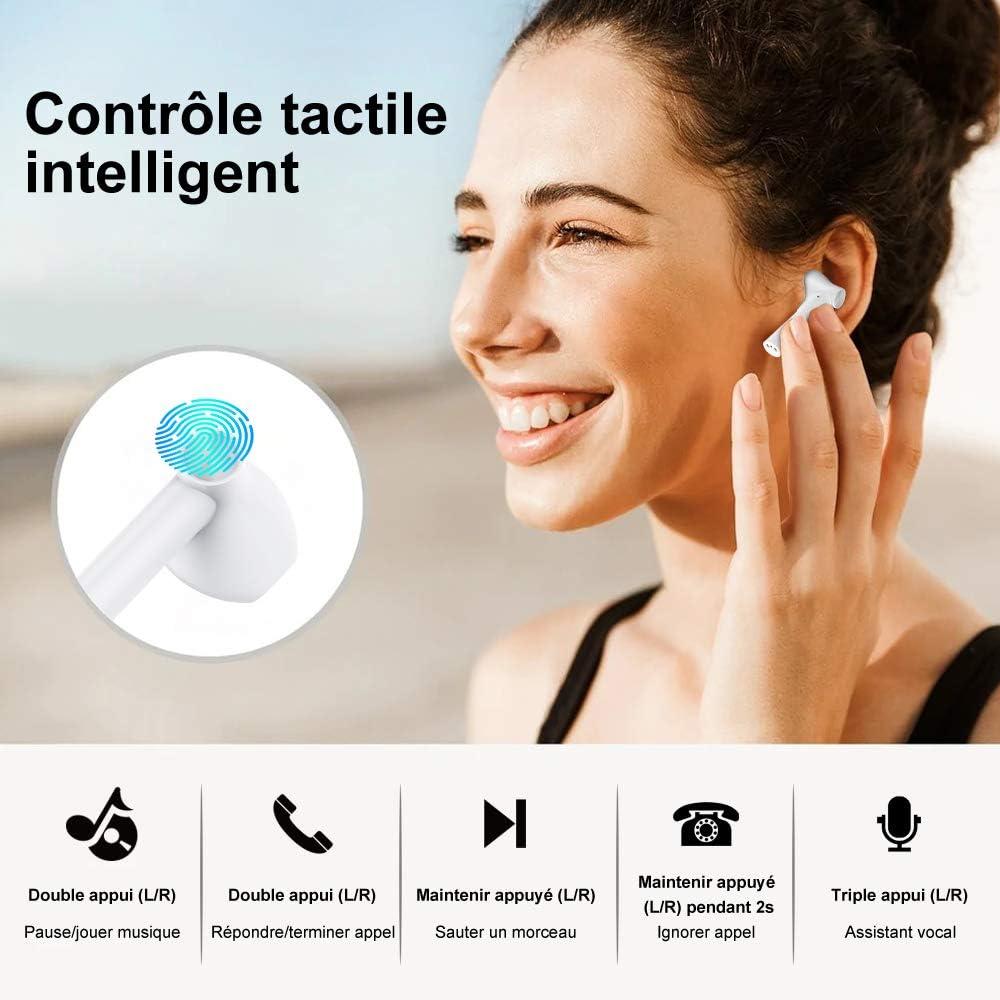 Appariement Automatique,Micro Int/égr/és pour iOS et An Ecouteur Bluetooth 5.1,OVIFM /Écouteurs sans Fil St/ér/éo Oreillettes Sport Int/égr/é IPX8 /Étanche,20 h et USB-C Charge Rapide Contr/ôle Tactile