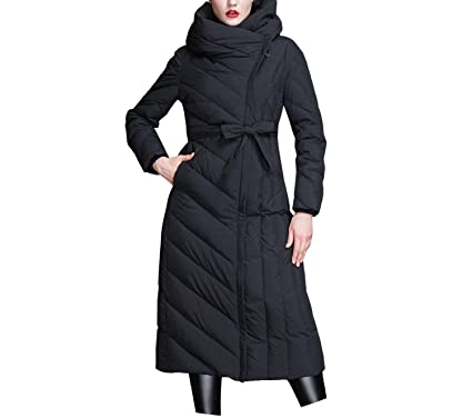 a9bbe481beeed Amazon.com  Winter New 2019 Women s Long Slim Thick White Duck Down Jacket  Coat Female Fashion Warm Coat with Belt  Clothing