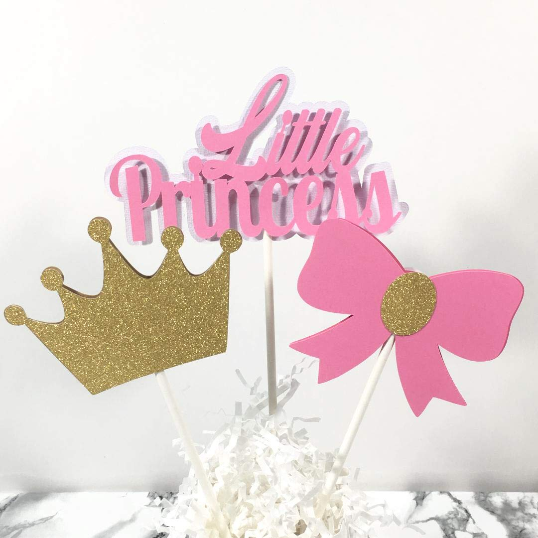 Little Princess Baby Shower Centerpiece Sticks, Cake Toppers, Pink and Gold