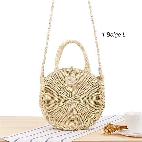 aa8be5706c21 Amazon.com: Fashion Outdoor Round Straw Bag Rattan Woven Vintage ...