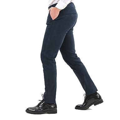 in vendita b1437 05dda Pantaloni Uomo Invernali Elegante Chino Classico Slim Fit Blu Nero Grigio  Tasca America Stretti Pantalone Cotone Invernale Casual Kaki Basic ...