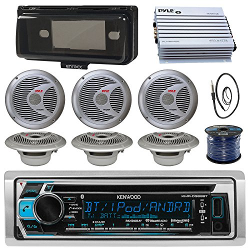 Kenwood KMRD368BT Marine Boat Audio Bluetooth CD Player Receiver W/Protective Cover - Bundle Combo with 6X Silver 6.5'' 150W Waterproof Stereo Speakers + Enrock Antenna + 400W Amplifier + 50-FT Wire