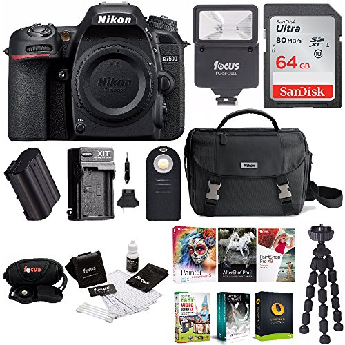 Nikon D7500 DSLR Camera Body with Nikon Bag + 64GB Card + Battery & Charger+ Kit by Nikon