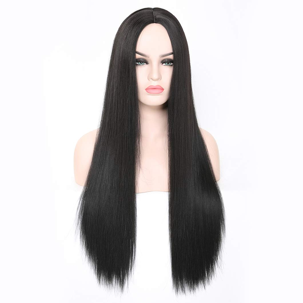 24'' Black Long Wigs, Middle Part Straight Synthetic Cosplay Hair Wigs