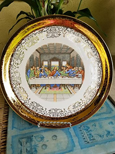 The Last Supper Collector Plate, Gold Trim, The Lord's Supper Plate Jesus Collector Plate