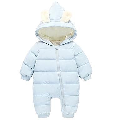 f75f5f385701 Amazon.com  Baby Girls Boys One Piece Winter Hooded Warm Puffer ...