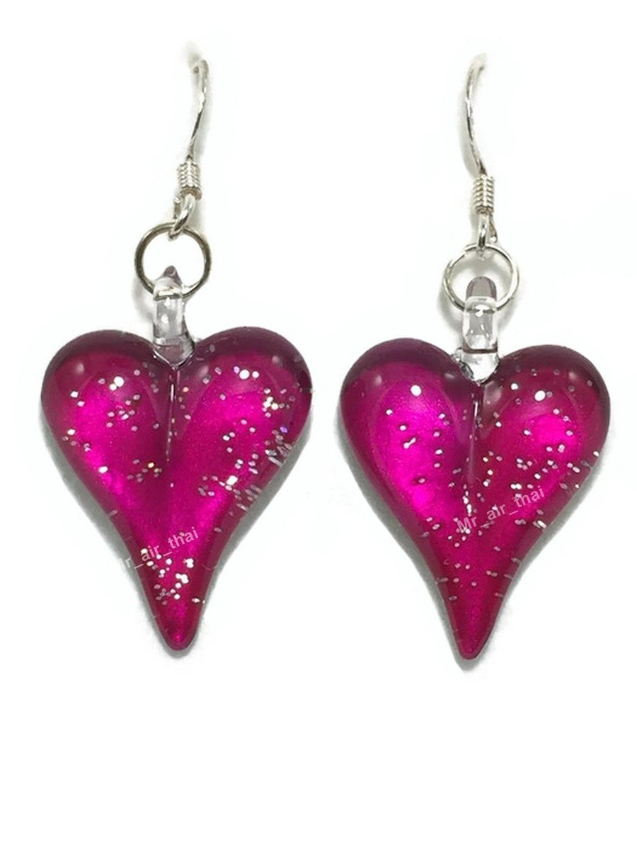 Sterling Earring Hand Blown Mini Heart Crystal Dangle Earriing Fashion jewelry Silver 925 E5