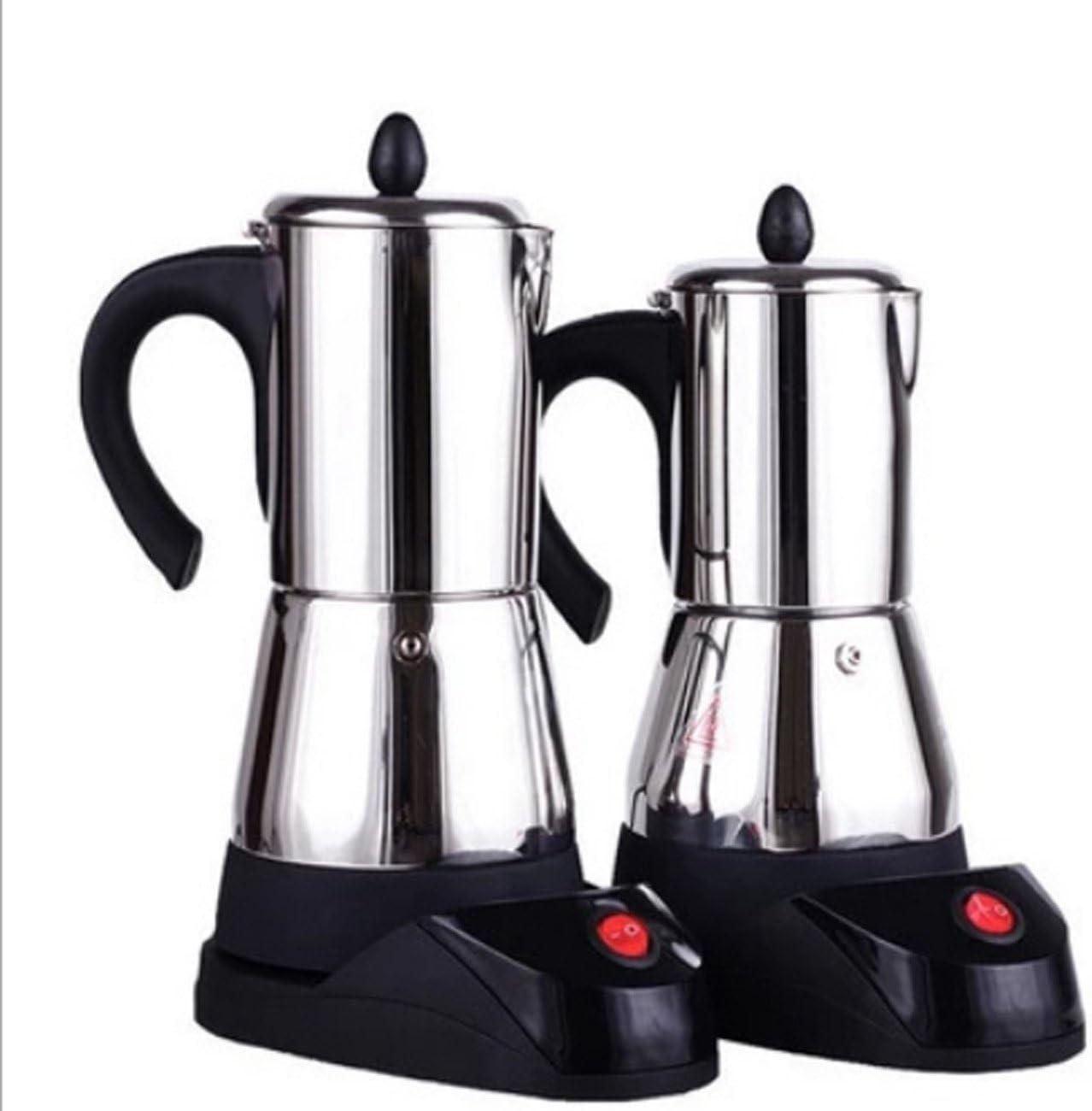 Cafetera eléctrica portátil Cafetera Moka con estufa eléctrica Cafetera espresso clásica europea, acero inoxidable, filtro permanente y mango resistente al calor, 200 ml / 300 ml (Capacity : 300ml) : Amazon.es: Deportes y aire libre