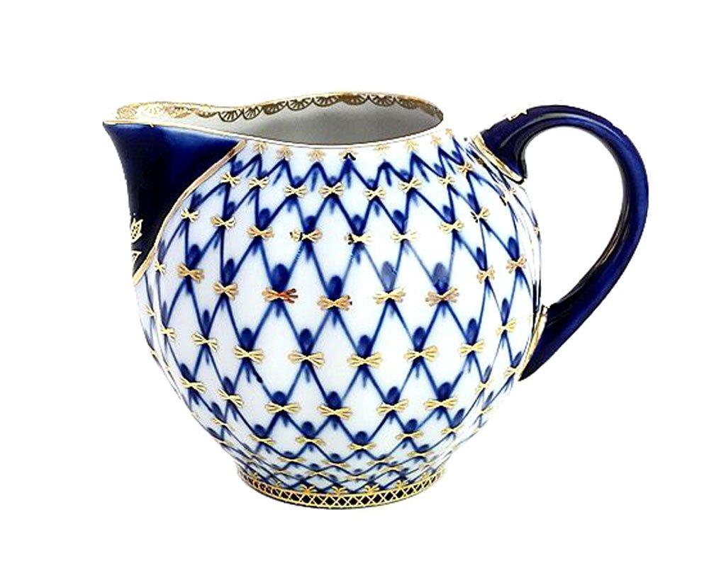 Lomonosov Porcelain Cobalt Net Creamer 22 Karat Gold