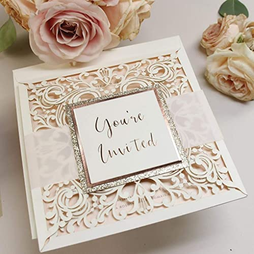Diy kit laser cut wedding invitations do it yourself stationery diy kit laser cut wedding invitations do it yourself stationery square glitter rose white free envelopes solutioingenieria Image collections