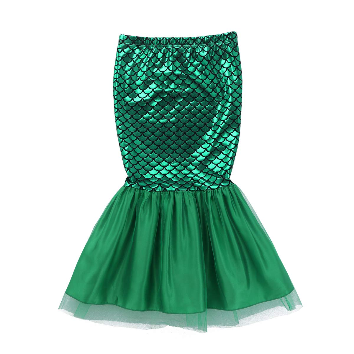 inhzoy Kids Girls Sequins Fish Scale Pattern Little Mermaid Tail Halloween Role Play Costume Skirts